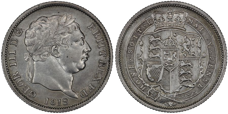 1819/9 Shilling, EF, George III, Rare, missing stops after D and G, Davies 89, ESC 2156, Bull 1235D