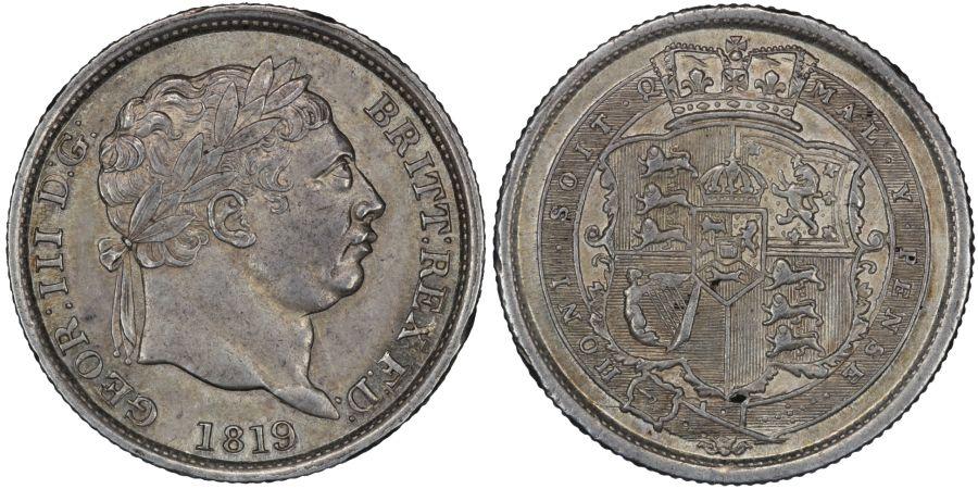 1819/6 or 3 Shilling, aEF, George III, Rare, Davies 87, ESC 2153, Bull 1235A