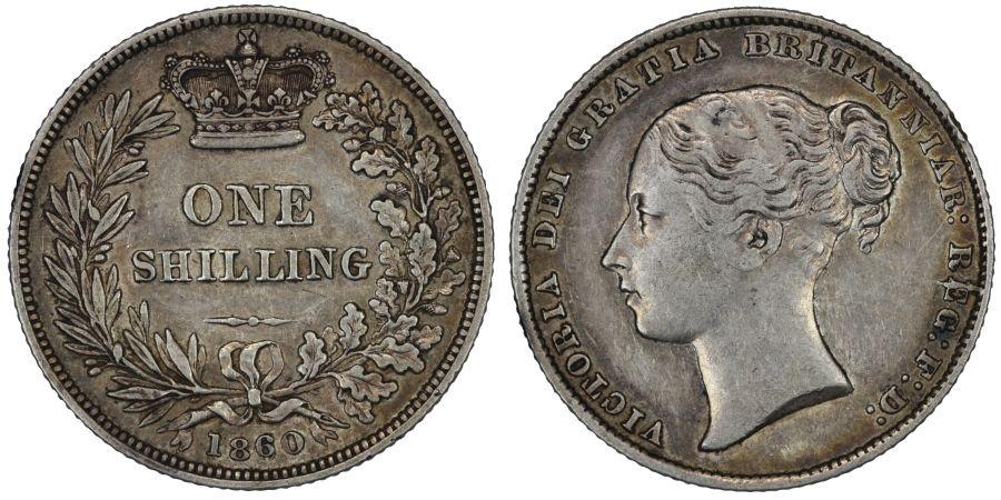 1860 Shilling, High 6 over 6, Victoria, gVF, Rare, ESC 1308, Bull 3018, Davies 881