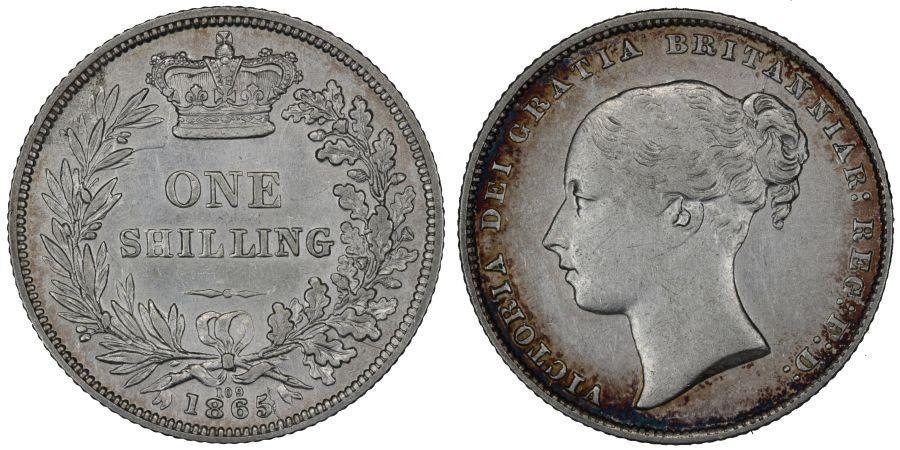 1865 Shilling, Die 109, gVF/nEF, Victoria, ESC 1313, Bull 3025, Davies 888
