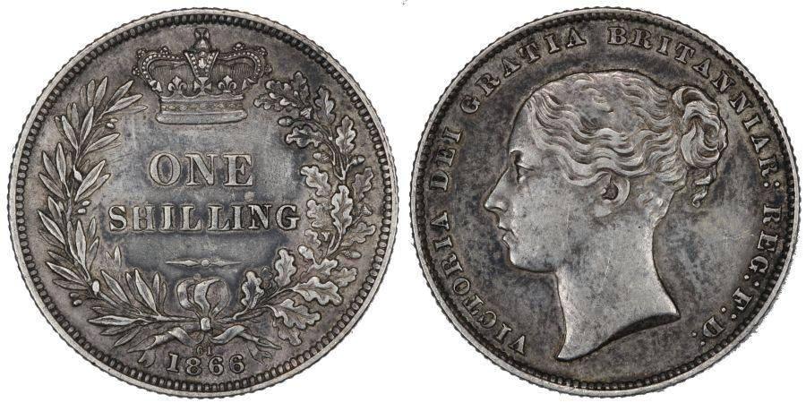 1866 Shilling, Die 61, nEF, Victoria, ESC 1314, Bull 3027, Davies 890