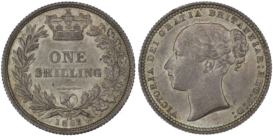 1867 Shilling, Die 16, gEF or better, Victoria, Extremely rare, ESC 1317C, Bull 3035, Davies 895, Dies 5+B