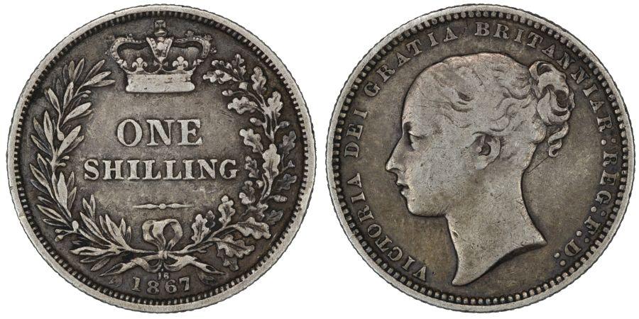 1867 Shilling, Die 16, gF, Victoria, Extremely rare (R3), ESC 1317C, Bull 3035, Davies 895, Dies 5+B