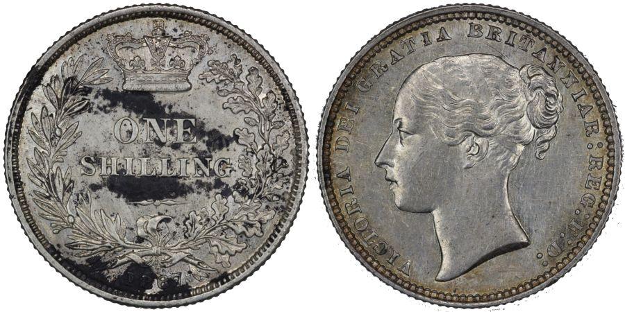 1867 Shilling, Die 17, gEF corrosion, Victoria, Extremely rare, ESC 1317C, Bull 3035, Davies 895, Dies 5+B
