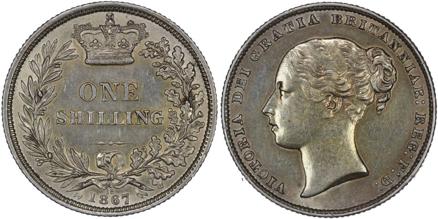 1867 Shilling, Die 18 dot above, nEF, Victoria, Extremely rare, ESC 1315A, Bull 3030A, Davies 893, Dies 4+B