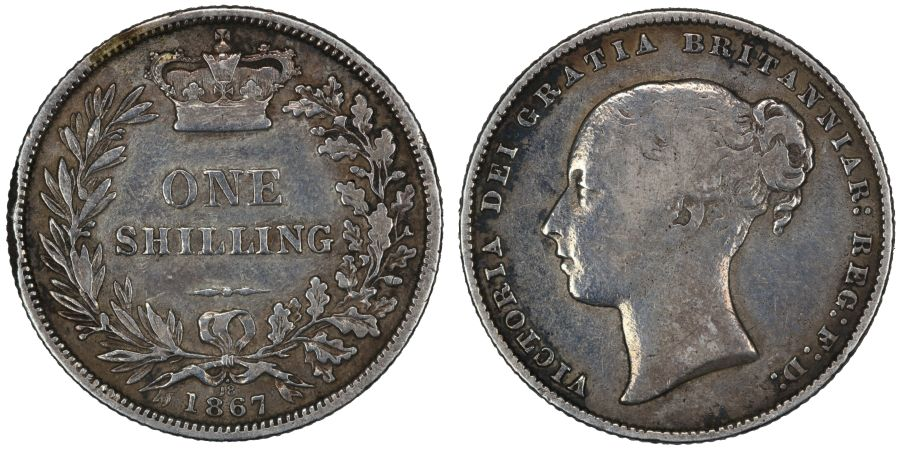 1867 Shilling, Die 18 dot above, nF, Victoria, Extremely rare, ESC 1315A, Bull 3030A, Davies 893, Dies 4+B