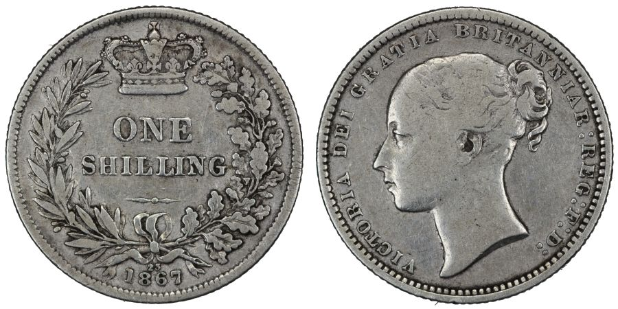 1867 Shilling, Die 23, nF, Victoria, Previously unknown, Not mentioned in ESC but variant of 1317B, Davies 894, Dies 5+A