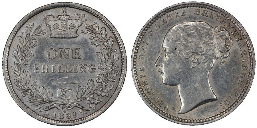 1869 Shilling, Die 4, aEF, Victoria, Rare, ESC 1319, Bull 3037, Davies 897