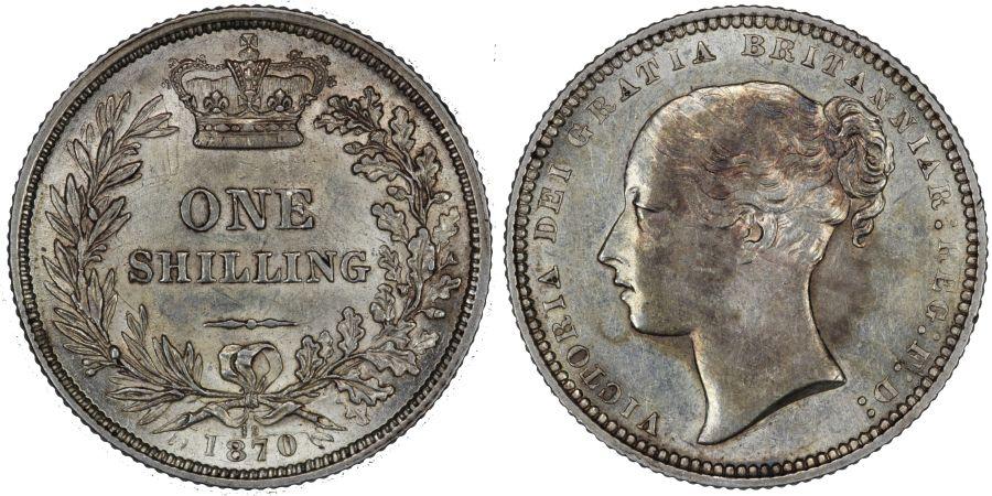 1870 Shilling, Die 19, EF, Victoria, Rare, ESC 1320, Bull 3038, Davies 898