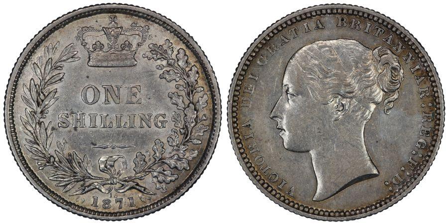 1871 Shilling, Die 18, nEF, Victoria, ESC 1321, Bull 3039, Davies 899