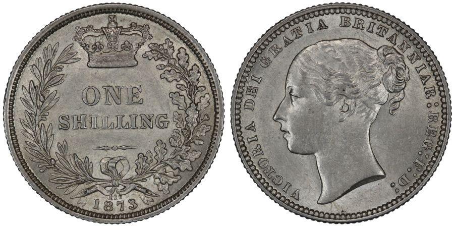 1873 Shilling, Die 117, gEF, Victoria, ESC 1325, Bull 3043, Davies 901
