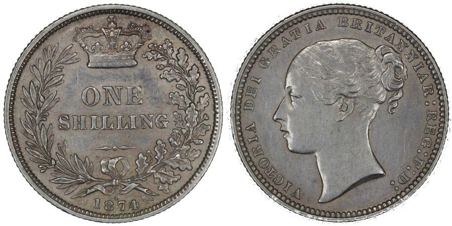 1874 Shilling, Die 4, Crosslet 4, aEF, Victoria, ESC 1326, Bull 3044, Davies 903