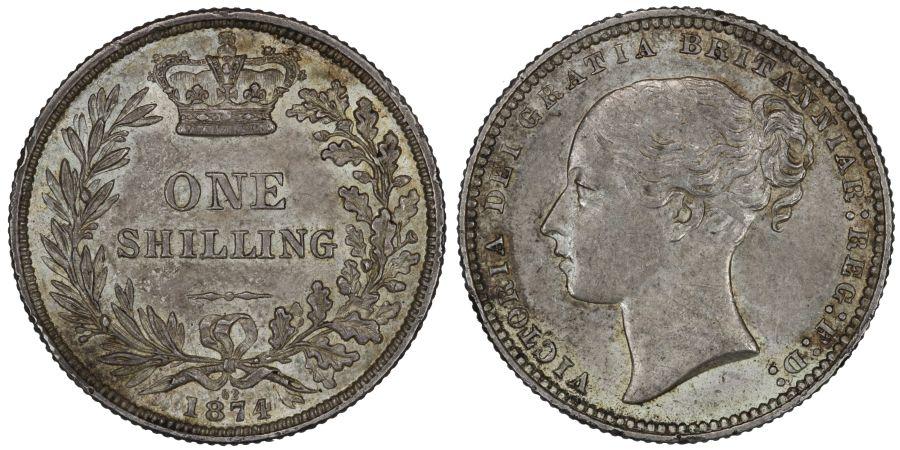 1874 Shilling, Die 62, gEF, Victoria, ESC 1326, Bull 3044, Davies 902