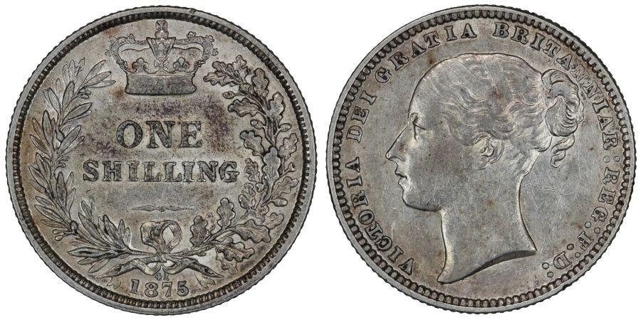 1875 Shilling, Die 41, nEF, Victoria, ESC 1327, Bull 3045, Davies 904