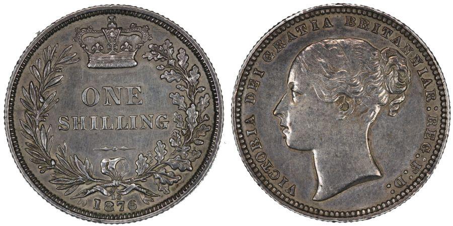 1876 shilling, Die 16, nEF cleaned, Victoria, Scarce, ESC 1328, Bull 3046, Davies 905