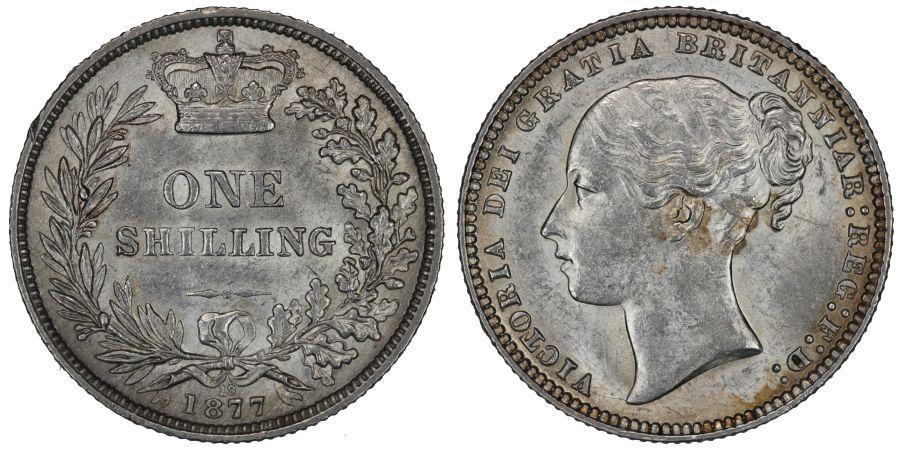 1877 Shilling, Die 19, gEF, Victoria, ESC 1329, Bull 3047, Davies 906
