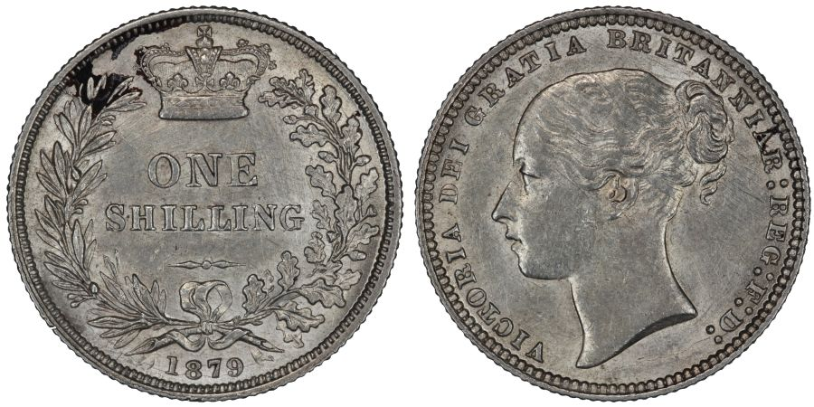1879 Shilling, No die number, Third head, EF lightly corroded/cleaned, Victoria, Extremely rare, S.3906, ESC 1316, Bull 3059, Davies 909A