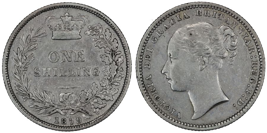 1879 Shilling, Die 4, Fourth head, gVF, Victoria, ESC 1334, Bull 3054, Davies 910, Dies 6+B
