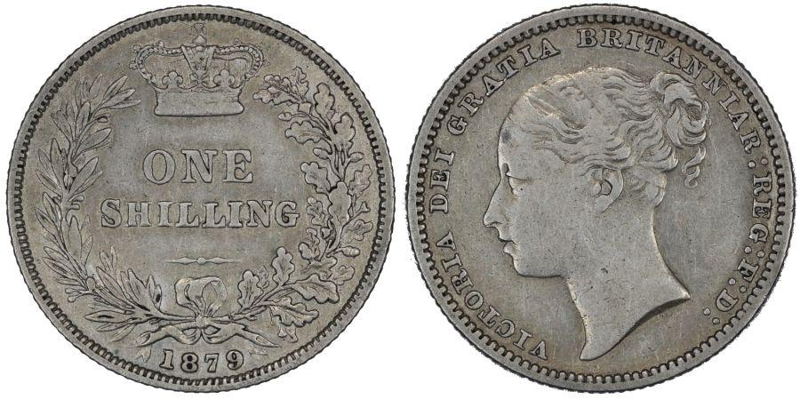 1879 Shilling, No die number, Fourth head, VF, Victoria, ESC 1334, Davies 911, Dies 6+B