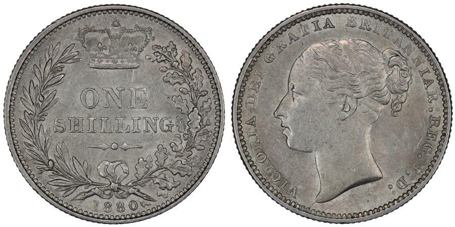1880 shilling, gEF, Dies 7D, ESC 1335, Bull 3064, Davies 914