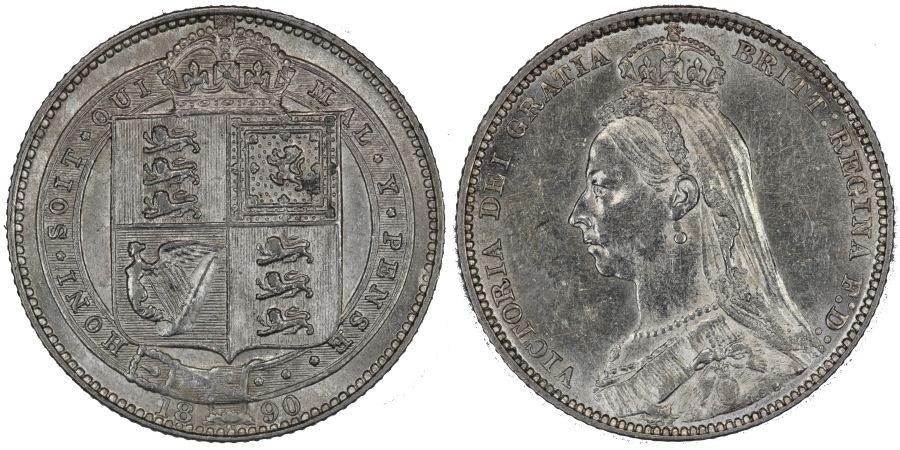 1890 Shilling, gEF, Victoria ESC 1357, Bull 3144, Davies 988A, Dies 3E