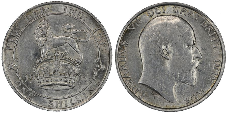 1906 Shilling, nEF, Edward VII, ESC 1415, Bull 3592, Davies 1557, Dies 2+A