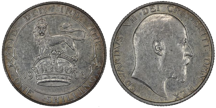 1906 Shilling, nEF, Edward VII, ESC 1415, Bull 3592, Davies 1557a, Dies 2a+A