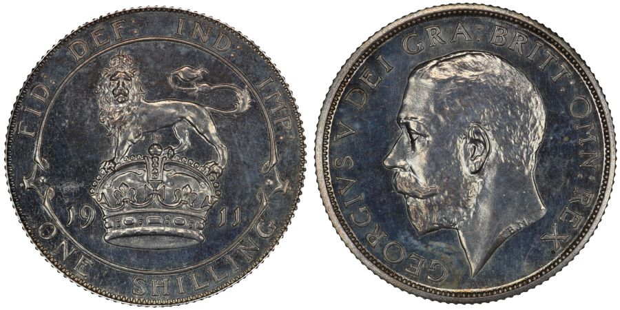 1911 Proof shilling, George V, Scarce, ESC 1421, Bull 3800, Davies 1792