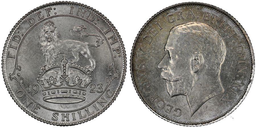 1923 Shilling, UNC or near so, George V, ESC 1433, Bull 3818, Davies 1814