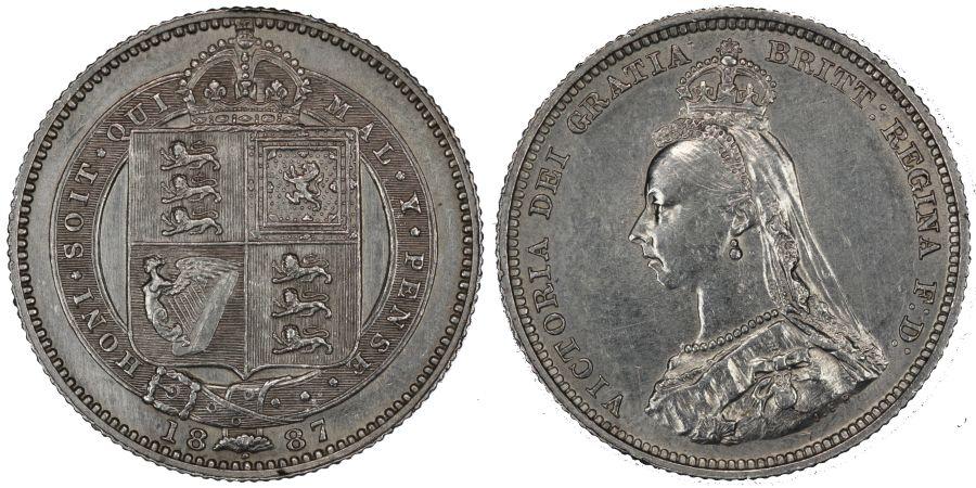 1887 Shilling, aBU, Victoria JH, Dies 1+A, Rare, ESC 1351, Davies 980