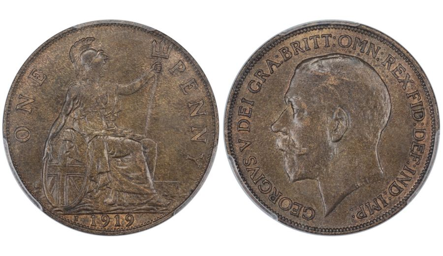 1919 H Penny, PCGS MS64BN, Heaton mint, George V, Freeman 186