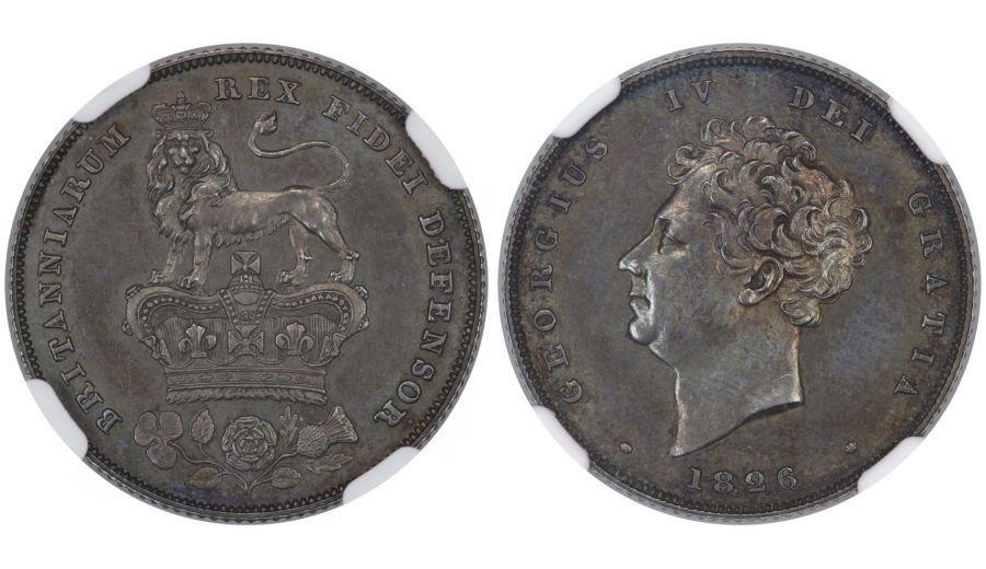 1826 Proof Shilling, NGC PR63, George IV, Bull 2411, ESC 1258