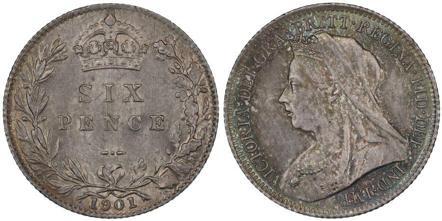 1901 Sixpence, UNC, Victoria, ESC 1771