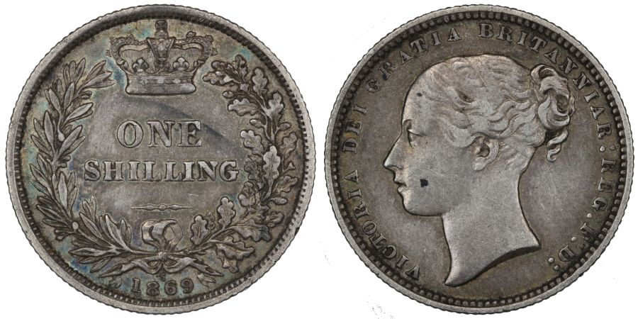 1869 Shilling, Die 5, gVF, Victoria, Rare, ESC 1319, Bull 3037, Davies 897