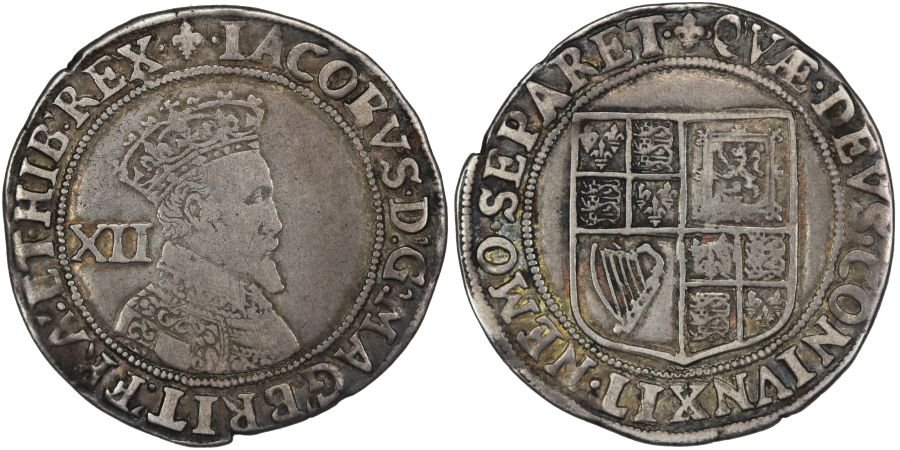 1604-1605 Shilling, James I, Second coinage, Third bust, mm. lis, S. 2654, North 2099 (N)