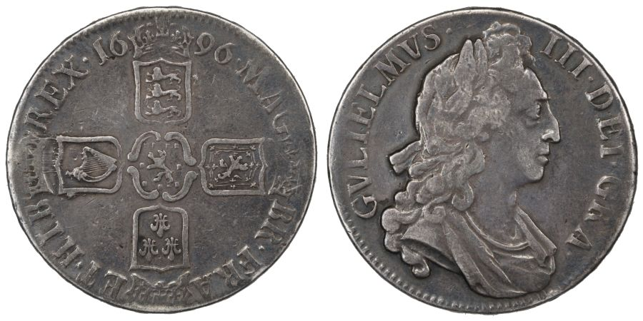 1696 Crown, OCTAVO, Good Fine or better, William III, First bust, S. 3470, ESC 89, Bull 995