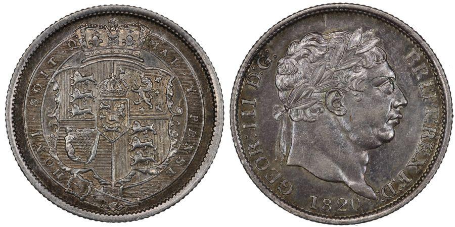 1820 Shilling, Small 8, A over A in MAL, aUNC, ESC 2157, Bull 1236