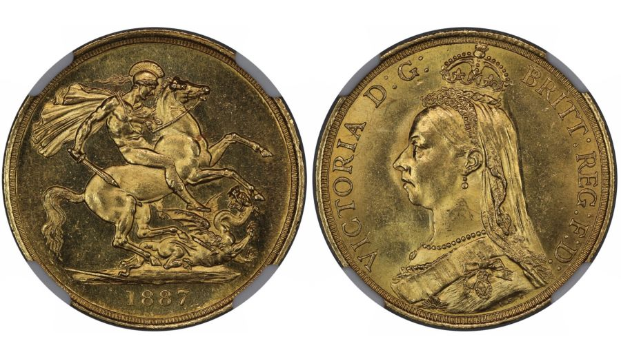 1887 Double Sovereign, £2, NGC MS 63, S. 3865