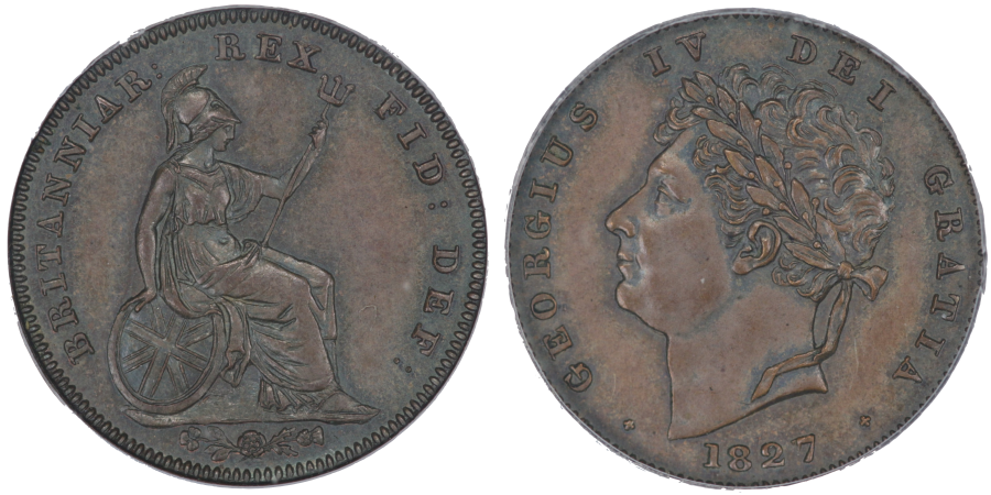1827 Proof Third Farthing, Reverse upright, George IV, CGS 85, Peck 1454