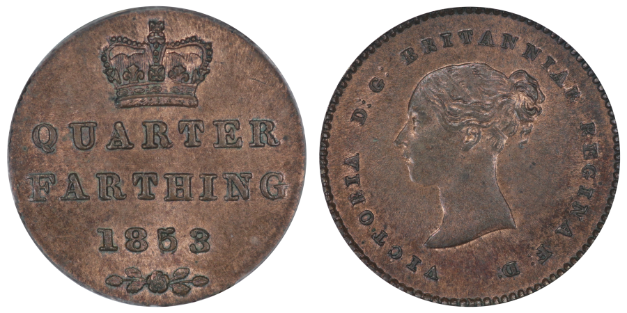 1853 Quarter farthing, 5 over lower 5, Q over O, triple colon between DG, Victoria, ex Colin Cooke collection lot 1658, Uncirculated with good lustre (CGS 82), Rare, CGS variety 4