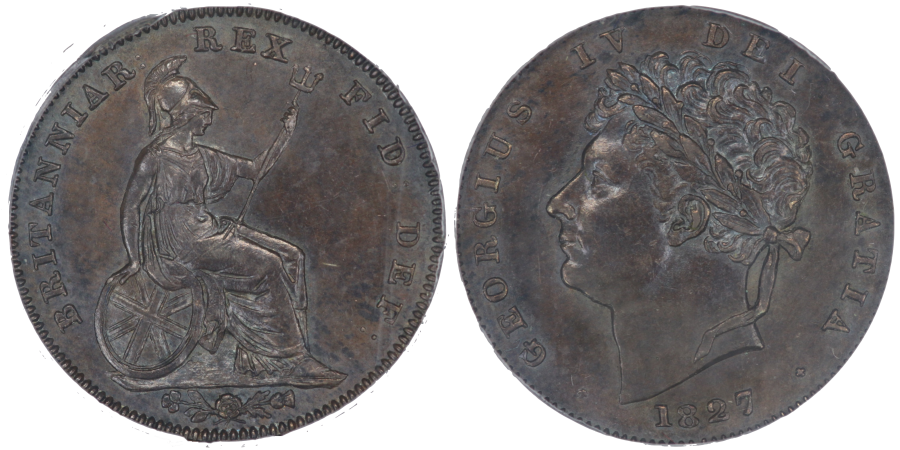 1827 Proof Third Farthing, Inverted reverse, George IV, CGS 75, UIN 21072