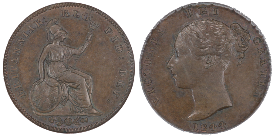 1844 Third farthing, Large G in REG, CGS Edge Problems AU, EX Colin Cooke collection lot 1636, Ex Dr E A Johnstone