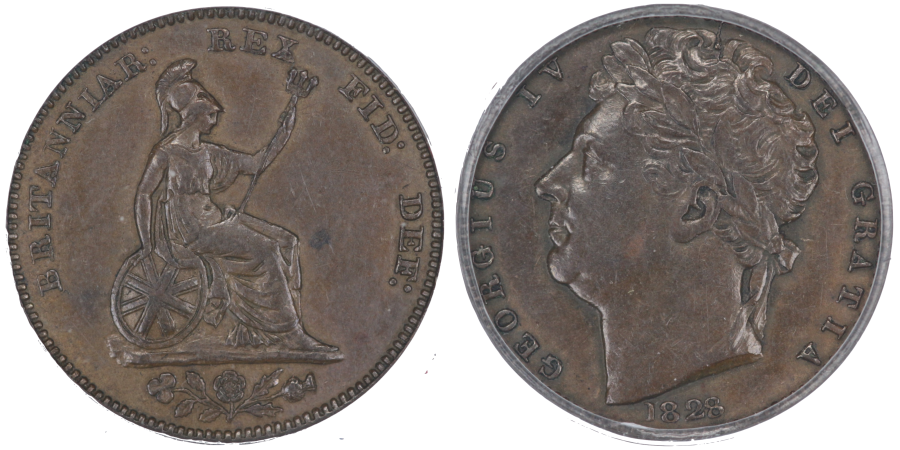1828 Half farthing, Reverse B (Small Britannia), small date, last 8 of date tilted left and close to 2, CGS 50, Ex Colin Cooke collection lot 1602, Ex Dr E A Johnstone, Extremely rare