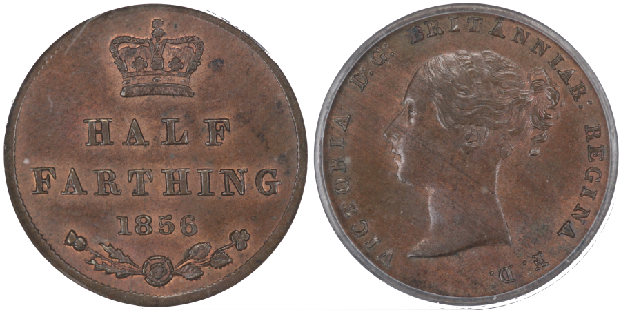1856 Half farthing, Small letters and date, CGS 60 (21081), Ex Colin Cooke collection lot 1626, Ex H. A. Parson, Ex Dr E A Johnstone (1973)