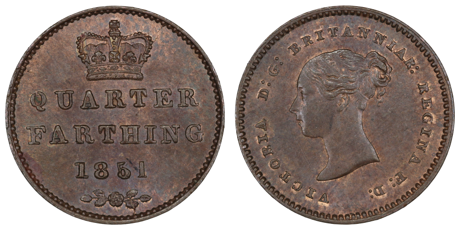 1851 Quarter Farthing, as Peck 1609 with 5 over 5 in the date, UNC with traces of lustre, Victoria, Ex LCA 153 lot 3206