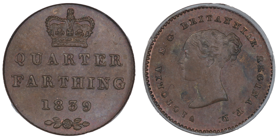 1839 Quarter Farthing, CGS 80, 1839 and rose below all double struck, Finest known, UIN 23264