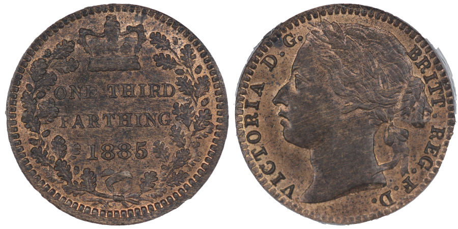 1885 Third Farthing, Die flaw on E of ONE, CGS 80, Finest known, UIN 37591