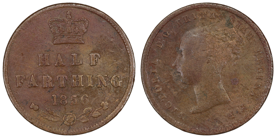 1856 Half Farthing, Large date with 8 over smaller 8, Very rare, Fine, Ex Baldwins FPL Summer 2016 MC 254, Peck 1603
