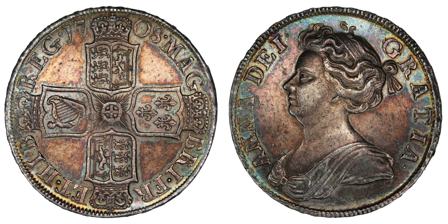 1708 Halfcrown, attractively toned aEF, Septimo, Anne, 7 strings, ESC 577, Bull 1370
