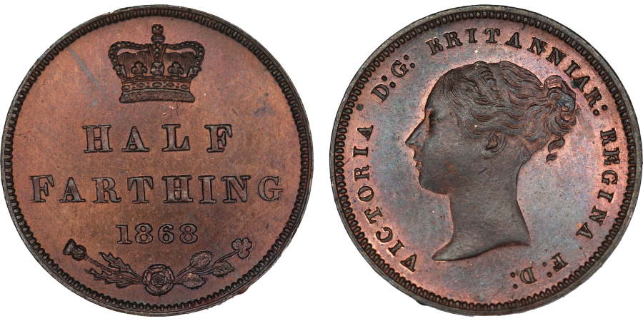 1868 Proof Half Farthing, UNC, Victoria, Peck 1605, Broken B in BRITT looks like KRITT
